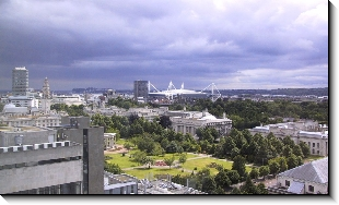 View of Cardiff from Psychology Tower, 1009x600 pixels (119.0K)